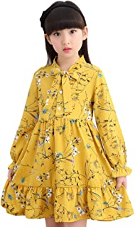 Xifamniy Little Girls Spring&Autumn Dress Cotton Fashion Wild Round Neck Floral Skirt