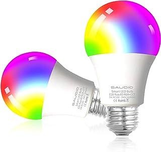 لامپ های هوشمند الکسا ، لامپ های SAUDIO WiFi LED لامپ های تغییر رنگ RGB ، سازگار با Siri ، Alexa ، IFTTT و دستیار خانگی Google ، بدون توپی ، A19 E26 چند رنگ 2 بسته