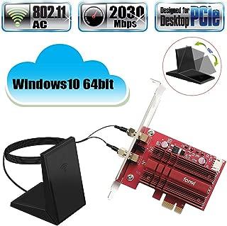 Fenvi WiFi Card Dual Band Wireless-AC 9260 PC PCIE 2030Mbps BT5.0 802.11ac 2.4Ghz 5Ghz MU-MIMO PCI Desktop WLAN PC BT 5.0 Network Adapter for Windows 10 64bit WI-FI Miracast with Advanced Heat Sink
