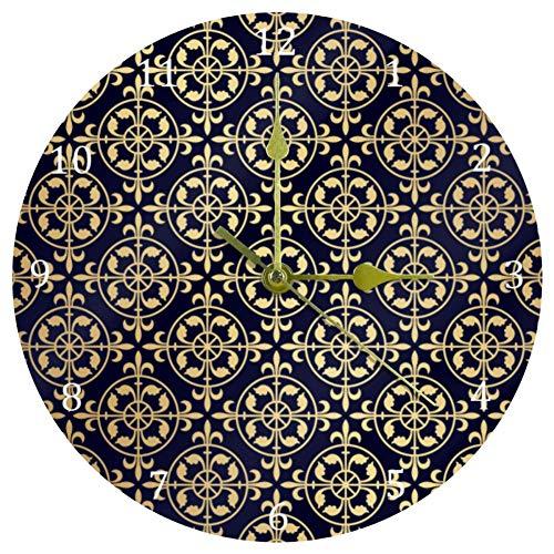 EZIOLY Wanduhr, Gothic-Stil, goldfarbenes Muster, 25,4 cm, geräuschlos, tickt nicht, Quarz, batteriebetrieben, runde Wanduhren für Zuhause/Büro/Schule, Uhr
