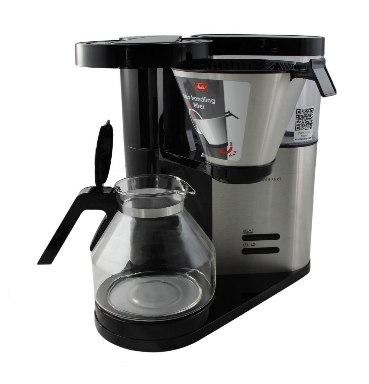 Melitta Cafetera de filtro con jarra de vidrio, Aroma Elegance, Negro/Acero inoxidable mate, 1012-01: Amazon.es: Hogar