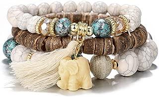 Multicolor Beaded Stackable Elephant Devil's Eye Bracelet for Women Boho Mood Bead 3 or 4 Wrap Stretch Bangle Bracelets with Tassels and Charms for Women Men