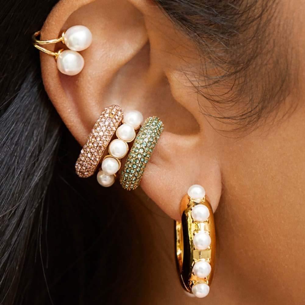 RIsxffp Lady Rhinestone C Shape Ear Cuffs Clip en los Pendientes Sin Piercing Cartílago Diaria Compras Citas Joyas para Fiestas Pink: Amazon.es: Hogar