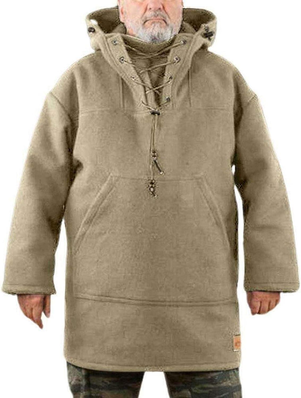 DIZHIGE Men's Wool Heavy Coat,Winter Men's Leisure Jacket, Pure Color Plus Size Winter Warm and Windproof