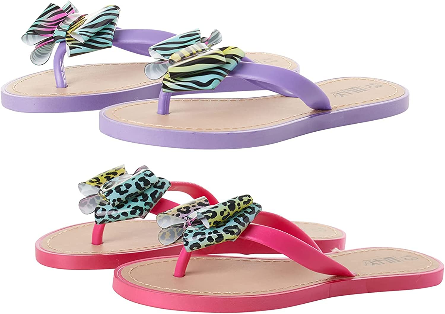 Lilly of New York Toddler Girls' Sandals - Thong Flip Flops with Bow and Heel Strap (2 Pack)