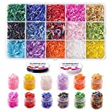 10000pcs Beading Glass Bugle Seed Beads, 6mm Pony Tube Beads Kit with Crystal Rope for DIY Bracelets Clothes Decoration Earring Jewelry Making (6mm, 15colors-Glass Beads B)