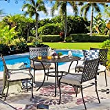PatioFestival 5-Piece Patio Dining Set Heavy Duty Outdoor Dining Furniture Set,Indoor Outdoor Dining Sets with Round Tabletop,4 Stackable Chairs