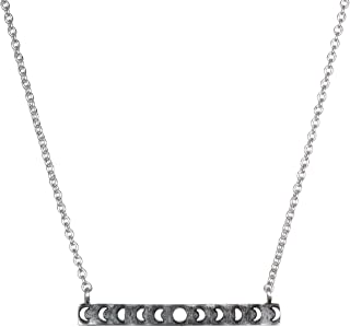Sterling Silver Moon Phase Bar (18-Inch) Pendant Necklace