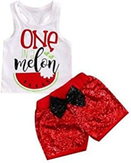 Baby Girls One in A Melon White Tank Top+Red Shorts Set Watermelon Cute Kids Clothes
