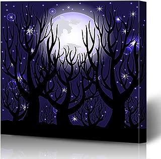 Onete Canvas Prints Painting Artwork 16x16 Forest Dusk Evening Scenic Sky Night Scene Dark Tree Midnight Star Silhouette Blue Nature Skyline Wall Art Printing Home Bedroom Living Room Office Dorm