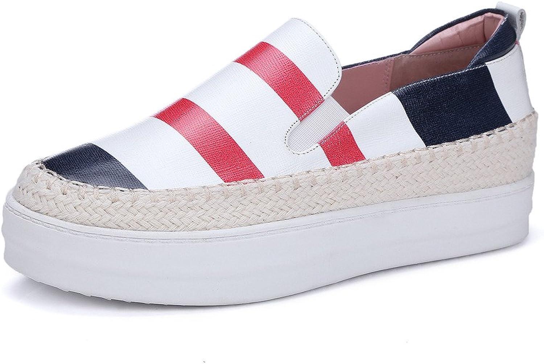 pinkG Women's Stripe Sneaker Slip-on Leather Espadrille Casual Flat shoes