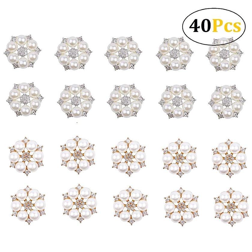 Stock Show 40Pcs Fancy Gold Silver Flower Pearl Embellishment Rhinestone Pearl Button Flatback DIY Alloy Diamond Crystal Bow Earring Drop Accessory Wedding Bouquet Decoration Craft(GoldSilver), 24mm