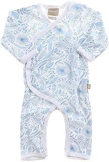 Babyushka Organic Essentials Flower Kimono Jumpsuit, Blue, 0