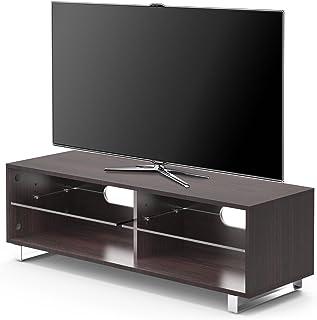 1home TV Cabinet Bois Etagères Adjustable Pieds Forme U Largeur 120cmm, Marron