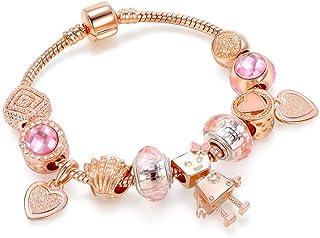 Europe Style Lovely Robot Charm Bracelet - 925 Silver Plated Crystal Beads DIY Bracelet - Birthday Valentines Gift for Wom...
