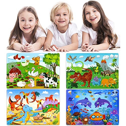 INNOCHEER Puzzles for Kids Ages 3-8 Year Old, 60 Pieces Wooden Jigsaw Puzzles 4 Pack Preschool Educational Learning Toys Set for Boys Girls