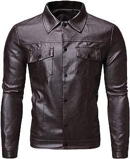 wuliLINL Men's Faux Leather Jacket Suede Motorcycle Bomber Winter Coat