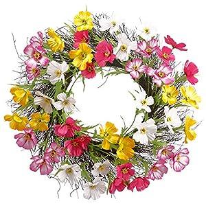 "Silk Flower Arrangements 24"" Silk Cosmos Flower Hanging Wreath -Assorted (Pack of 4)"