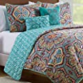 VCNY Home Yara Medallion 5 Piece Reversible Quilt Set, King, Aqua by Victoria Classics Company