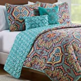 VCNY Home Yara Collection Quilt Set - Ultra-Soft Reversible Coverlet Bedding - Lightweight, Cool, and Breathable Bedspread, Machine Washable, Ful/Queen, Aqua