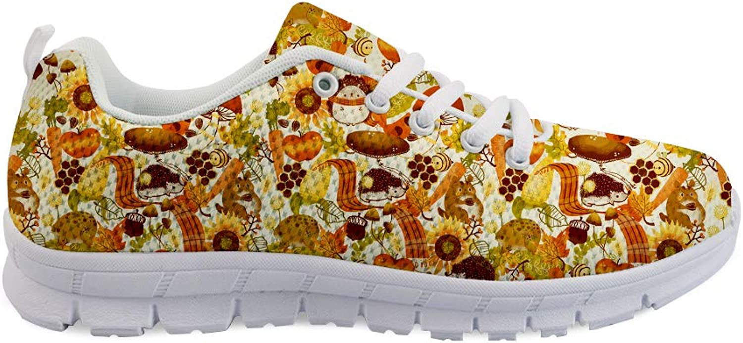 Owaheson Laceup Sneaker Training shoes Mens Womens Fall Apple Bee Sunflower Hedgehog Squirrel