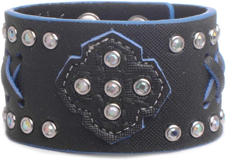 Nomad Creek Two-toned Laced Rhinestone Studded Cuff Bracelet