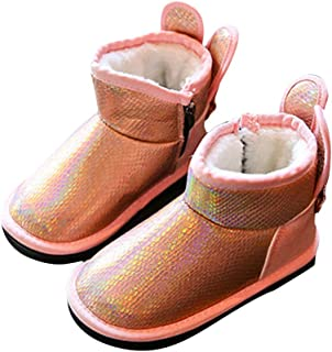 Hopscotch Girls PU Applique Snow Boots in Pink Color