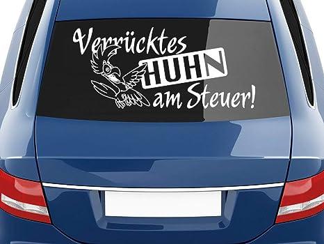 Grazdesign Autoaufkleber Lustige Sprüche Verrücktes Huhn Am Steuer Für Heckscheiben Aufkleber 70x31cm 010 Weiß Küche Haushalt