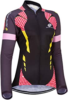 Women's Long Sleeve Cycling Jersey Outdoor Sports Slim Fit Full Zip Breathable and Quick Dry