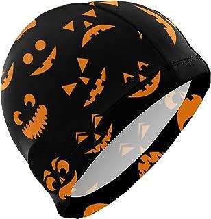PNGLLD Swim Cap Halloween Funny Pumpkin Swimming Cap for Men Boys Adult Youth Teen Swimming Hat No-Slip