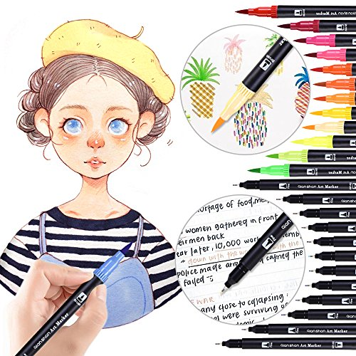 24 Colors Dual Tip Brush Pens Set, Watercolor Brush Markers with Fineliner Tip 0.4mm Professional Coloring Art Marker for Sketching, Painting, Drawing Design qianshan