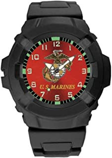 Aqua Force USMC Logo 47mm Diameter Quartz Watch, Black with Red Face