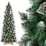 FairyTrees Árbol de Navidad Artificial Slim, Pino Verde Natural Cubierto de Nieve, PVC, con piñas Naturales, Soporte de Madera, 180cm, FT09-180