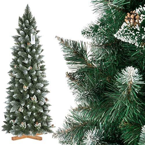 FairyTrees Árbol de Navidad Artificial Slim, Pino Natural Blanco nevado, PVC, Las verdaderas piñas, el Soporte de Madera, 180cm, FT09-180