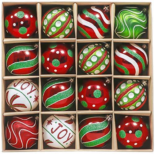 Valery Madelyn 16 Piezas Bolas de Navidad de 8cm, Adornos Navideños para Arbol, Decoración de Bolas de Navidad Plástico de Rojo Blanco y Verde, Regalos de Colgantes de Navidad (Coleccion Clasica)