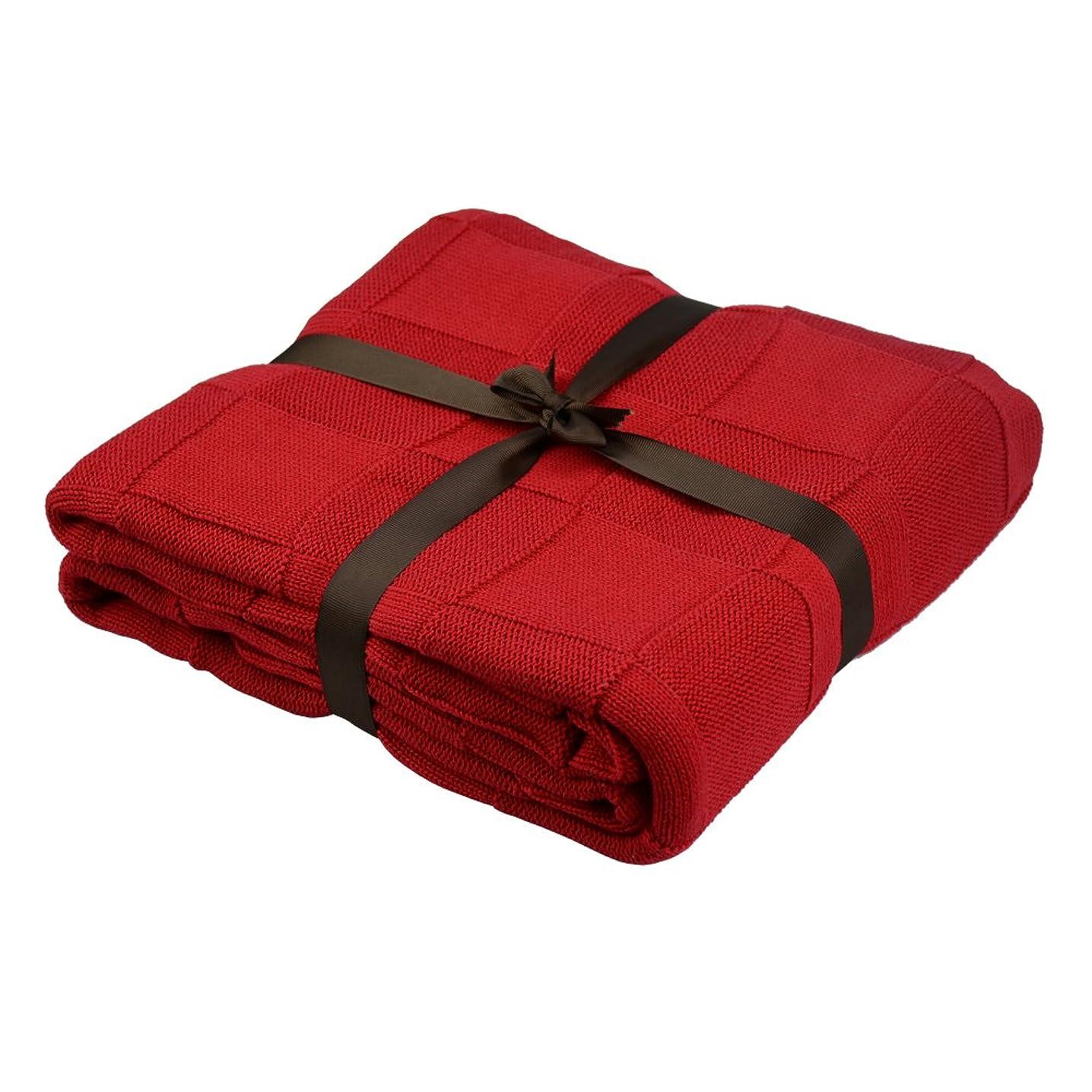 ジョガー召集するイデオロギーEtechMart ベッドランナー スローブランケット 毛布 ベッド ソファー用 ケーブル ニット 110x 180cm チェック レッド