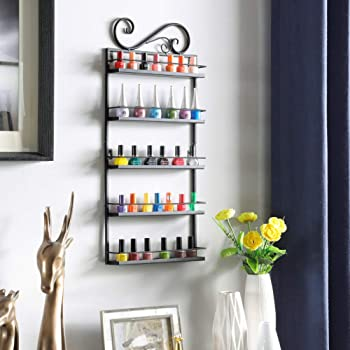 Dazone Metal Nail Polish Essential Oils Mountable 5 Tier Organizer Display Rack (Black)