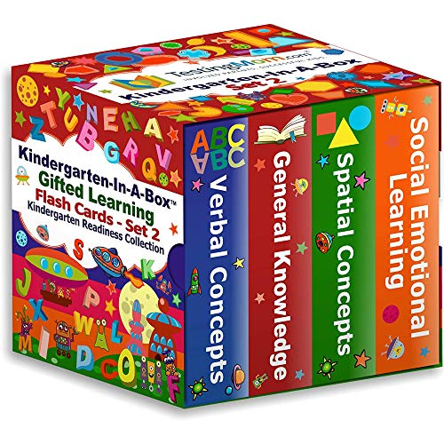 TestingMom.com Kindergarten-In-A-Box - Gifted Learning Flash Cards Bundle (Set 2) - General Knowledge, Verbal, Spatial, Social Emotional Learning - Gifted and Talented Test Prep for CogAT, WPPSI, NNAT