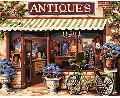 Children drawing store door bike New Paint by Numbers for Adults Children Linen Canvas oil painting kit -With Frame-40x50cm