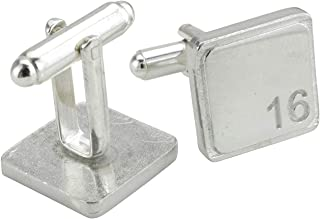 Square Cufflinks with '16' Engraved - 16th Anniversary