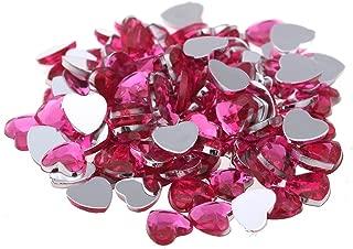 Nizi 20mm 100pcs Pink Color Heart Shape Acrylic Rhinestones Flatback Flat Faceted Strass Gems 3D Nail Art Decorations