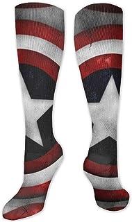 Calcetines de poliéster y algodón por encima de la rodilla, retro, unisex, para muslo, para cosplay, botas de deporte, gimnasio, yoga, ejército, Capitán América, banderas de EE. UU.