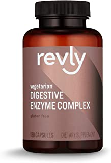 Amazon Brand - Revly Digestive Enzyme Complex, Supports Healthy Digestion, 180 Count Capsules, 90 Servings, Satisfaction G...