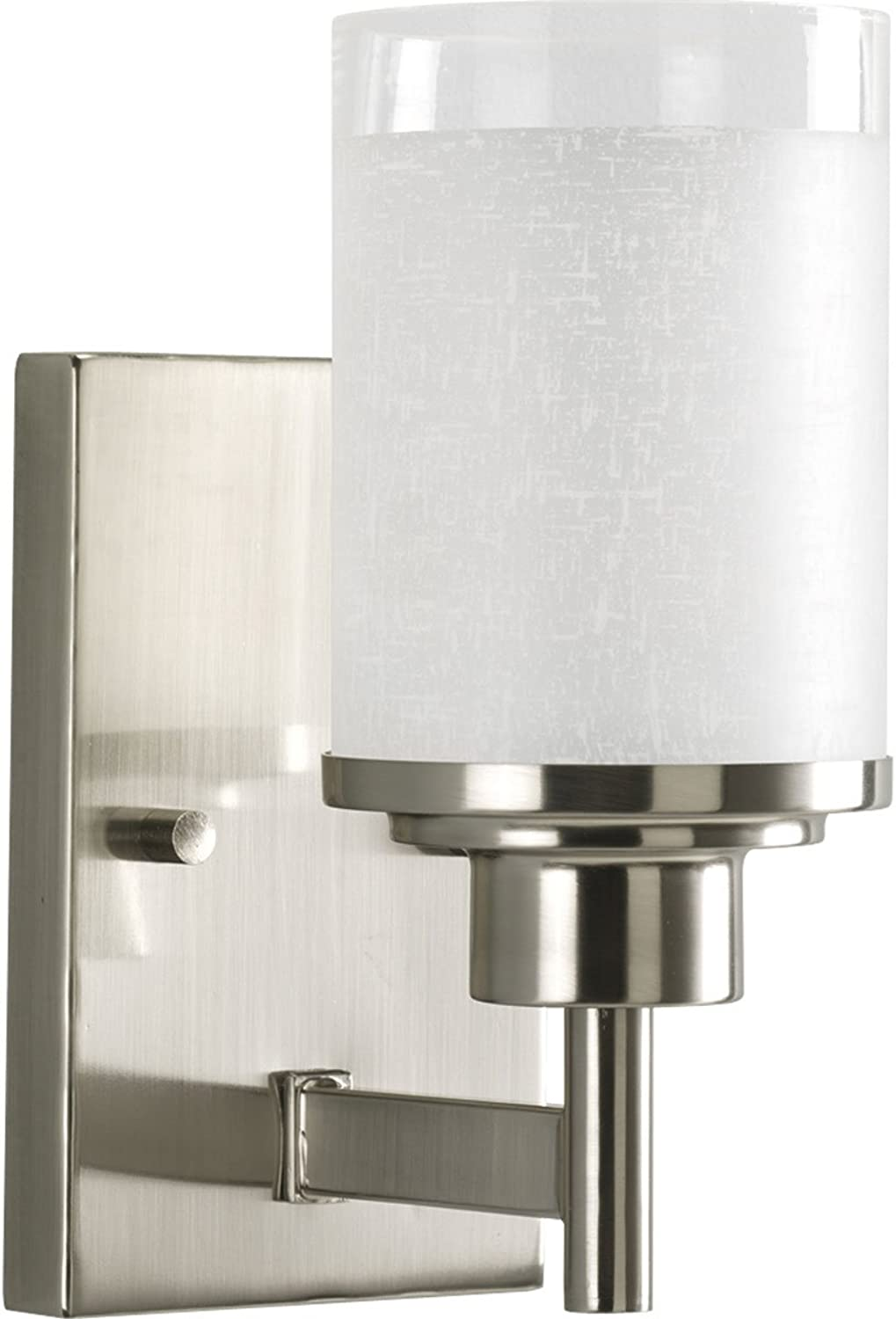 Progress Lighting P2959-09 1-Light Wall Bracket with White Linen Finished Glass and Clear Edge Accent Strip, Brushed Nickel