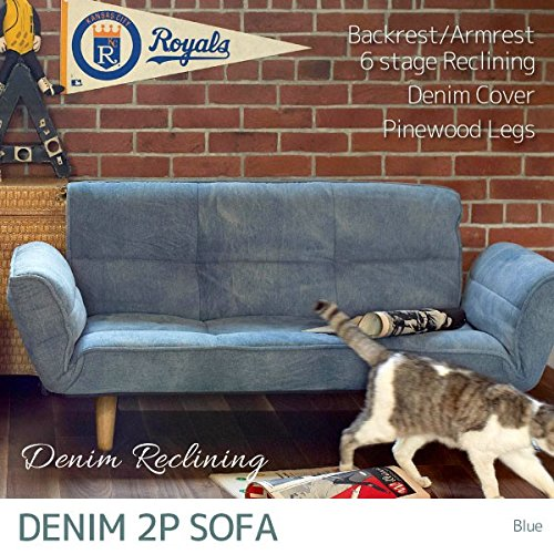 デニム生地がカジュアル&ビンテージなリクライニングソファ ブルー 6段階リクライニング 2Pソファ 2人掛けソファ カウチソファ