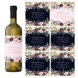 Floral Be My Bridesmaid Weinflaschen-Etiketten, 7 Stück, 2 Maid of Honor + 5 Mehrzweck-Aufkleber für Brautjungfer
