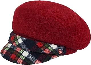 Dahlia Women's Wool Blend Newsboy Hat - Belt Accent Plaid Visor