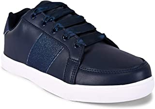 KazarMax Women's Shimmered Navy Platform Sneakers Shoes