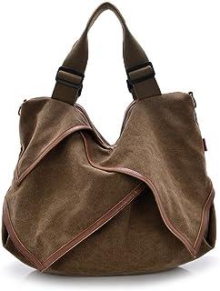 DRF Women's Hobo Bag Canvas Tote Bag Shopper Large Capacity BG135 (Brown)