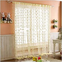 Pindia 6 feet Set of 2 Cream String Net Heart Design Door Window Curtain